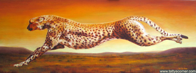 Cheetah. My latest paintings are getting bigger! This cheetah piece is 48ins by 18ins and it's so impressive, tends to brighten up a room instantly.