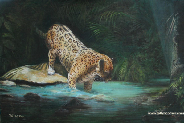 Jaguar. I enjoy painting animals because the children love viewing them when they call in at the shop.