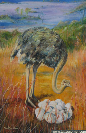 Mother Ostrich.  She is proud to show you her first born.